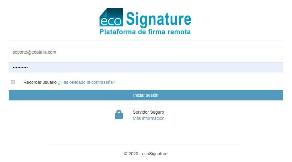 Plataforma de Firma Remota ecoSignature - Pantalla de Ingreso